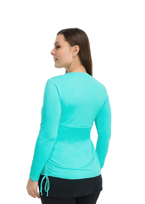 Turquoise Shirt Side Ruches